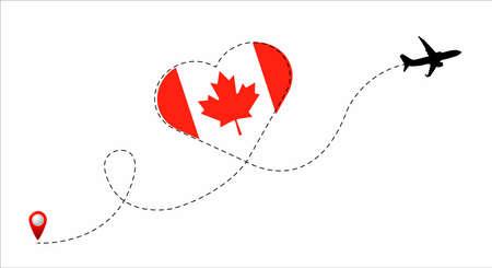 Canada flag inside the heart. Illustration