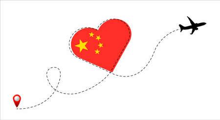 China flag inside the heart. Illustration