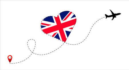 United Kingdom flag inside the heart.