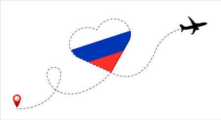 Russia flag inside the heart. Illustration