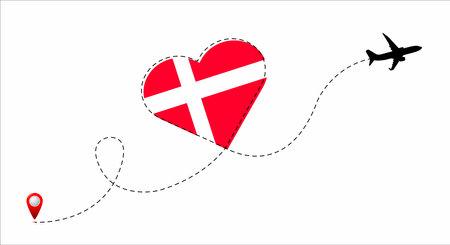 Denmark flag inside the heart.