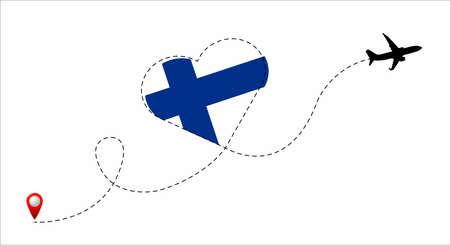 Finland flag inside the heart.