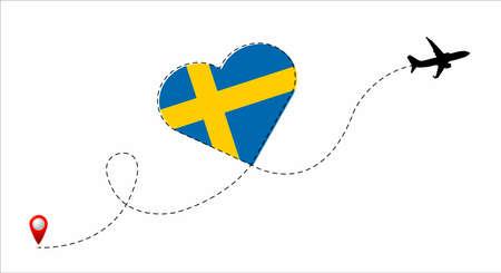 Sweden flag inside the heart.