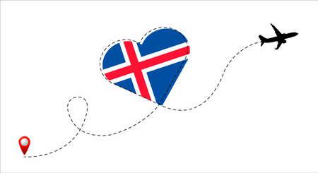 Iceland flag inside the heart. Illustration