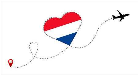 Netherlands flag inside the heart.