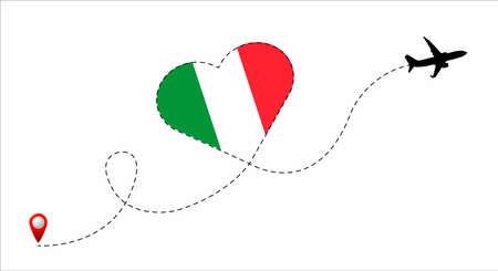 Italy flag inside the heart.