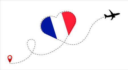 France flag inside the heart.