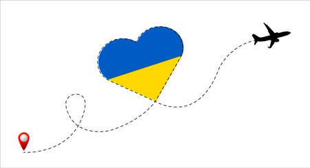 Ukraine flag inside the heart. Illustration