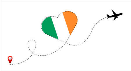 Airplane flight route with the Ireland flag inside the heart. Travel to your beloved country. Vector flat illustration.