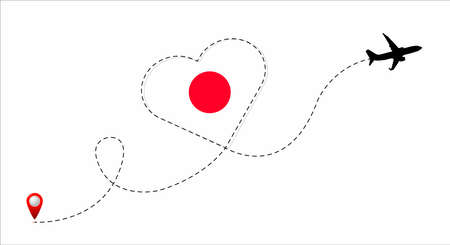 Airplane flight route with the Japan flag inside the heart. Travel to your beloved country. Vector flat illustration.
