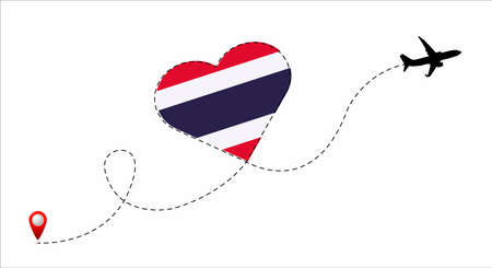 Airplane flight route with the Thailand flag inside the heart. Travel to your beloved country. Vector flat illustration.