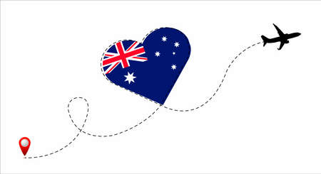 Airplane flight route with the Australia flag inside the heart. Travel to your beloved country. Vector flat illustration.