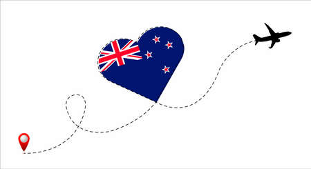 Airplane flight route with the New Zealand flag inside the heart. Travel to your beloved country. Vector flat illustration.