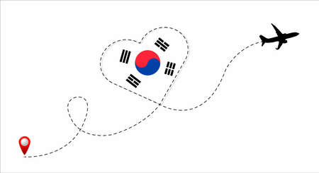 Airplane flight route with the Republic of Korea flag inside the heart. Travel to your beloved country. Vector flat illustration.