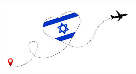 Airplane flight route with the Israel flag inside the heart. Travel to your beloved country. Vector flat illustration. Illustration