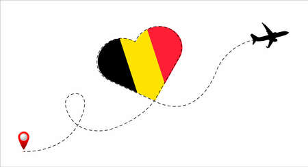 Airplane flight route with the Belgium flag inside the heart. Travel to your beloved country. Vector flat illustration. Illustration