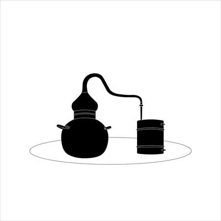 Alambic Copper Icon. Distillation apparatus used for the production of alcohol, essential oils and moonshine. vector illustration. Vecteurs
