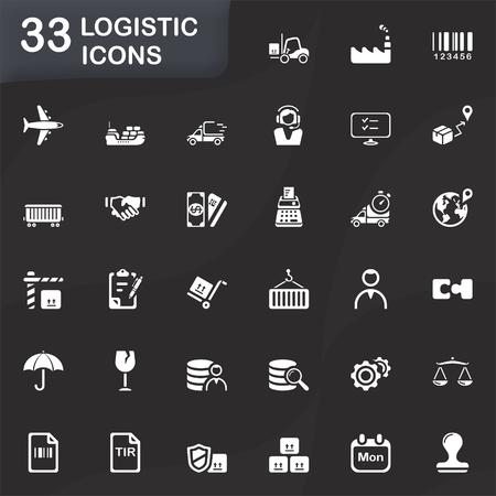 shipper: 33 logistic icons Illustration
