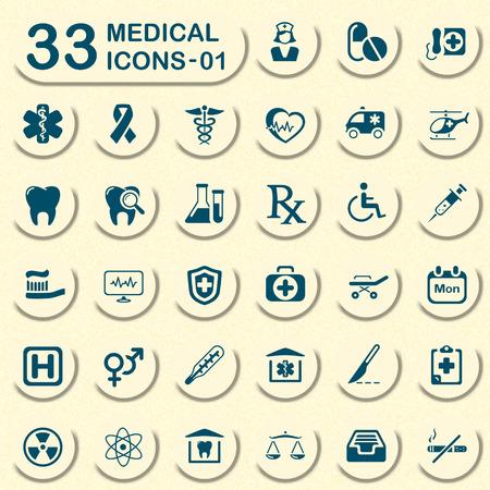 33 pantalones vaqueros iconos médicos - 01 Vectores