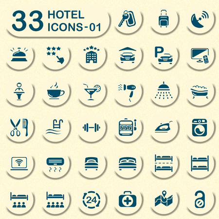 quadruple: 33 hotel icons - 01 Illustration