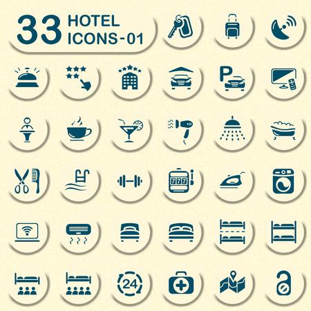 hotel icons: 33 hotel icons - 01 Illustration