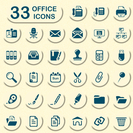pushpins: office icons for mobile phone interface and web Illustration