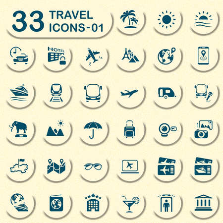 Travel vector icons for mobile phone interface and web. Size icon: 32x32 px. Vector