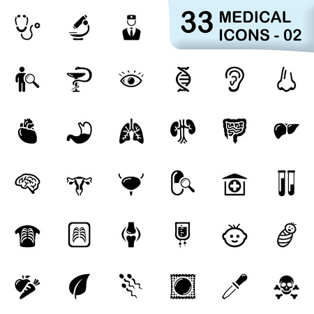 gastrointestinal tract: 33 black medical icons 02. Size icon: 32x32 px.