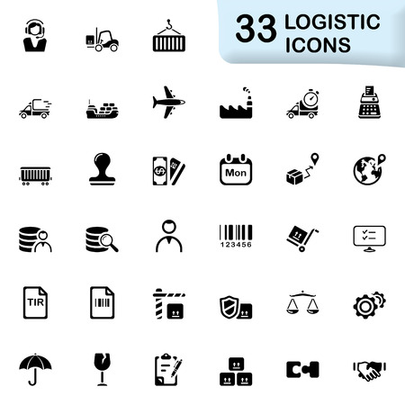 shipper: 33 black logistic icons. Size icon: 32x32 px.