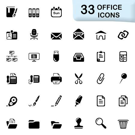 33 schwarze Büroikonen. Vektorgrafik