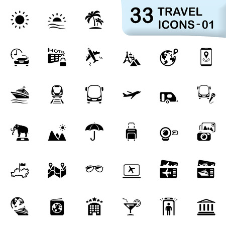 tour guide: 33 black travel icons 01. Size icon: 32x32 px.