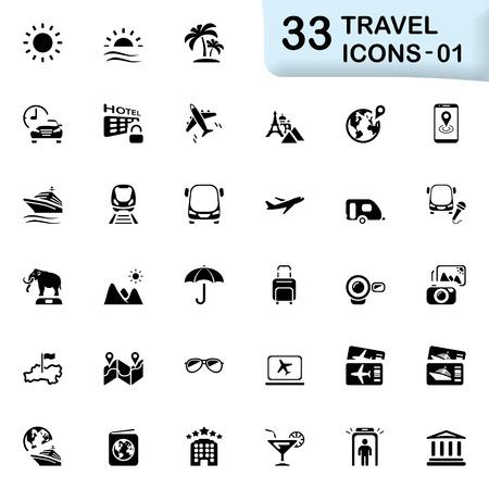 honeymoons: 33 black travel icons 01. Size icon: 32x32 px.