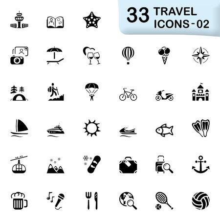 pleasure boat: 33 black travel icons 02. Size icon: 32x32 px.