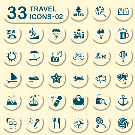 family vacation: Travel vector icons for mobile phone interface and web. Size icon: 32x32 px. Illustration