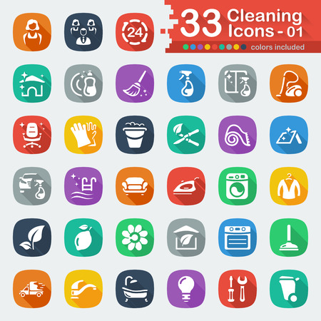 wet cleaning: 33 white flat cleaning icons 01