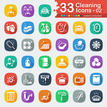 icicles: 33 white flat cleaning icons 02 Illustration