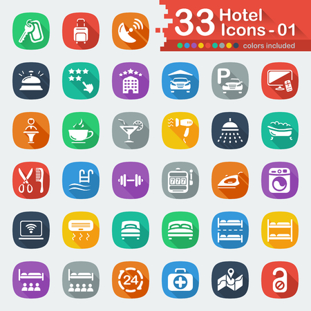 quadruple: 33 white flat hotel icons 01