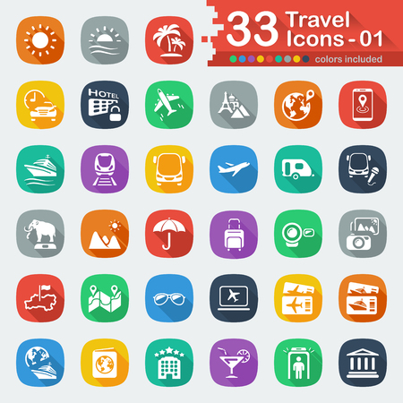 luxury travel: 33 white flat travel icons 01