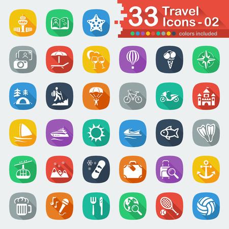 balloon volleyball: 33 iconos de viaje plana blancos 02