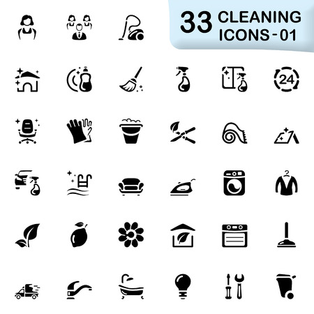 carpet cleaning service: 33 black cleaning icons 01 Illustration