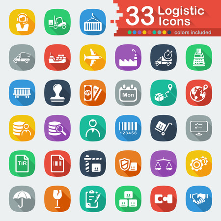 consignee: White Flat Logistic Icons