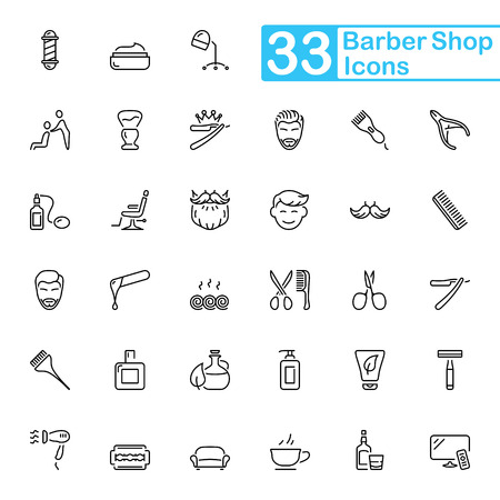 Black barbershop outline icons. Thin line set style equipment for shaving and grooming.