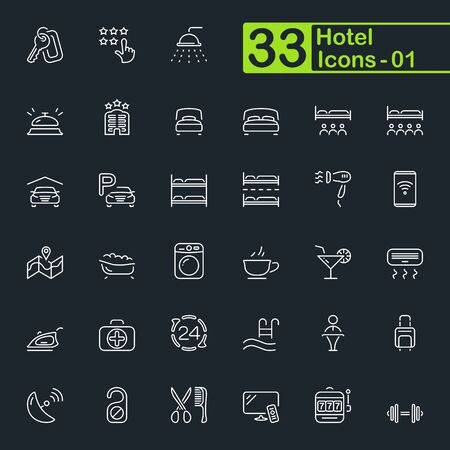 Hotel and hotel services outline icons.