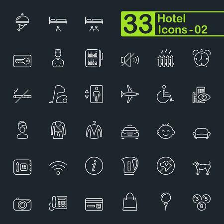 Hotel services, travel and vacation outline icons. Ilustração