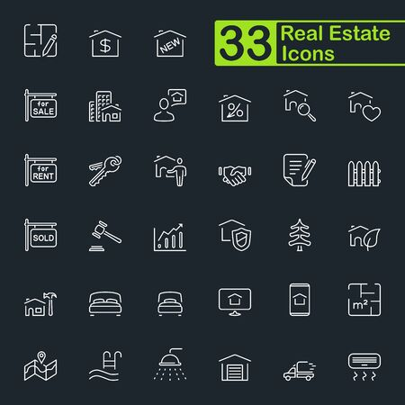 Real estate outline icon set. Contains such icons as house, plan, bed, delivery, auction and more. Editable stroke. Illustration