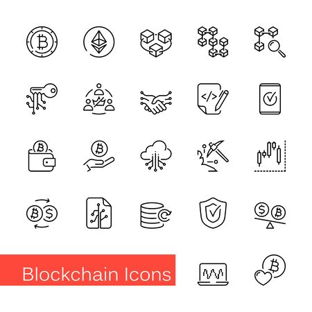 Set of 22 blockchain outline icons, vector illustrations. Contains such as: cryptocurrency, bitcoin, token, blockchain, smart contract, ethereum and more.