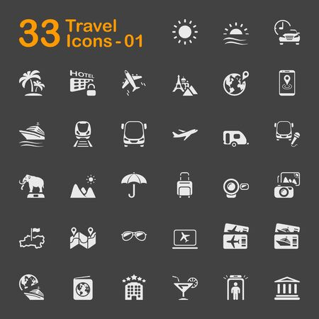 White Travel Vector Icons 版權商用圖片 - 137843943