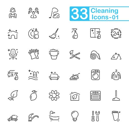 Cleaning outline icons. Set of cleaning outline icons, vector illustrations. Contains such as: window washing, household gloves, office cleaning, maid, washing up and more.