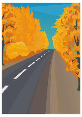 entrada da garagem: Paisagem do outono em cores brilhantes