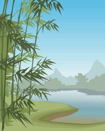 paysage: Summer landscape with mountains  Illustration